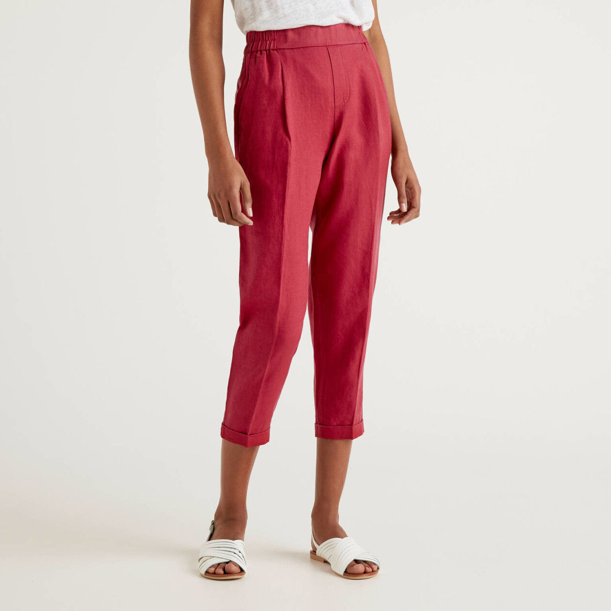 Pantalon cropped 100% lin