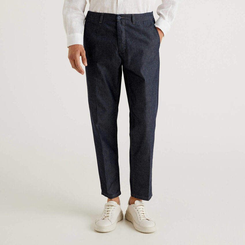 Pantalon en chambray de coton