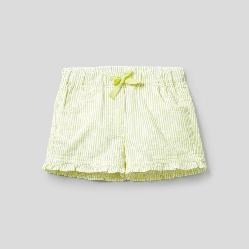 Short à rayures jaunes 100% coton