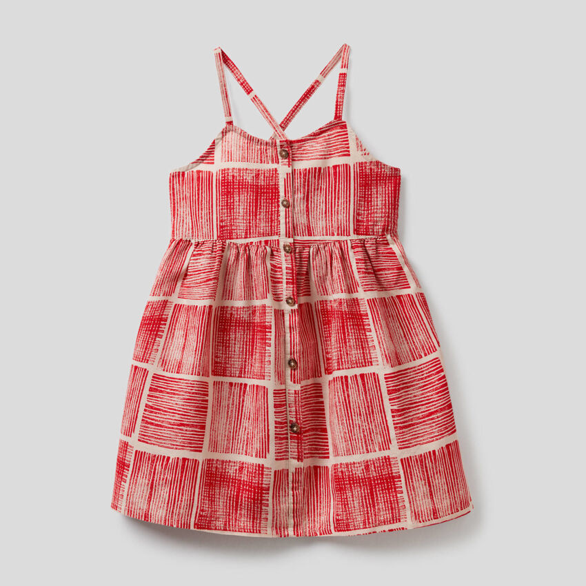 Robe imprimée en mélange de coton et lin
