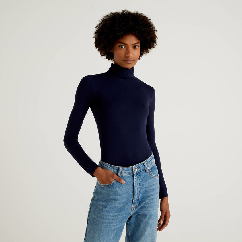 Pull col montant stretch