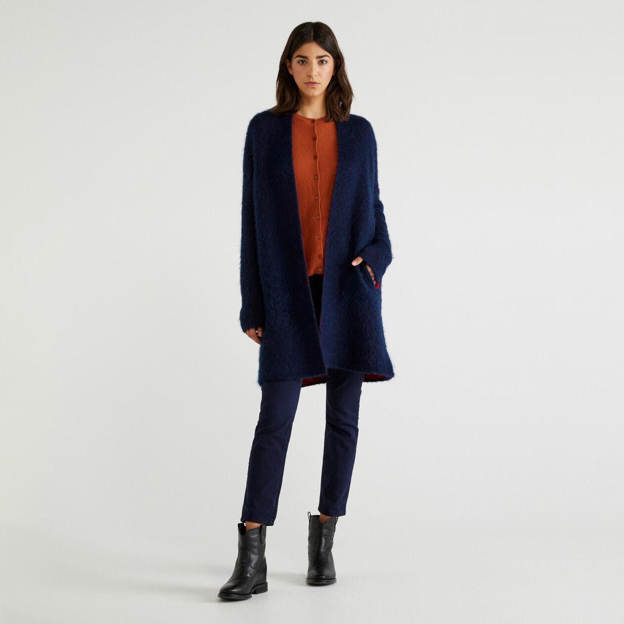Manteau en maille bicolore