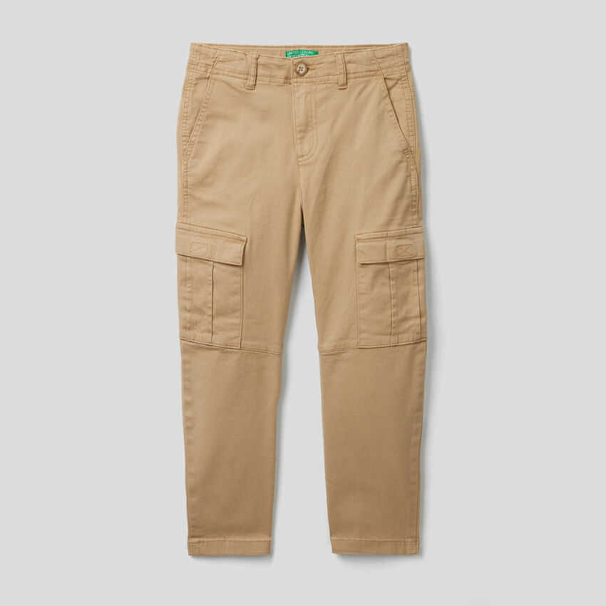 Pantalon cargo en coton stretch