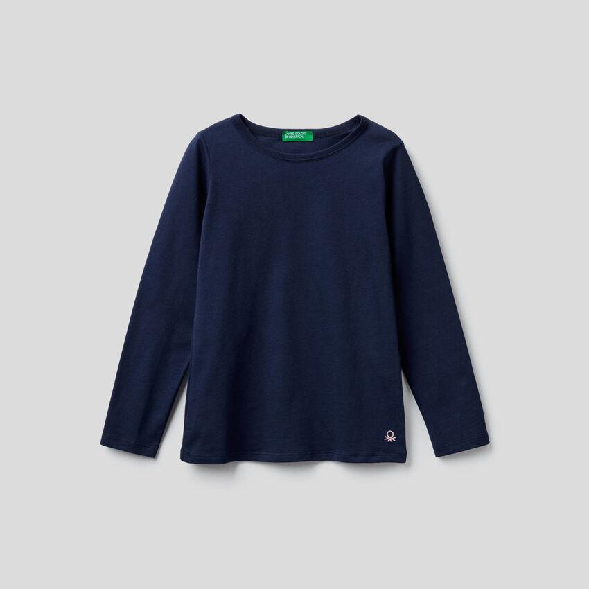 T-shirt bleu foncé à manches longues