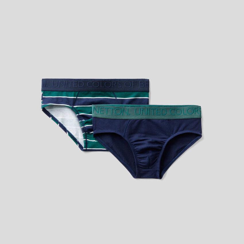 Deux slips en coton stretch