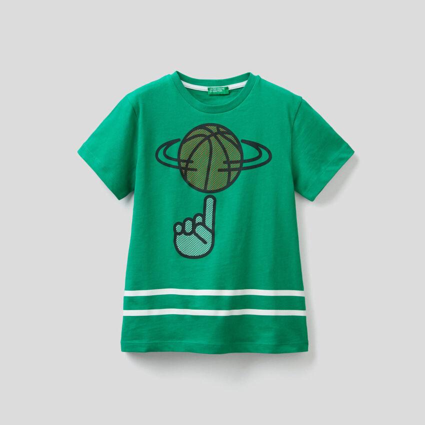 T-shirt en coton avec imprimé 3D