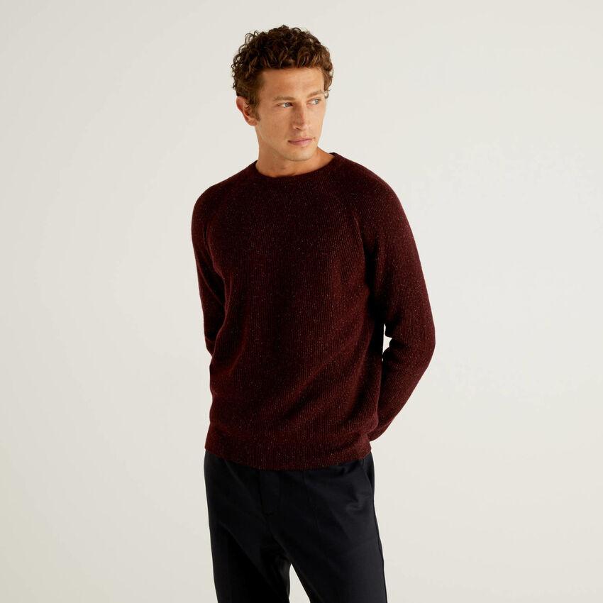Pull en laine et soie mélangées à bords-côtes