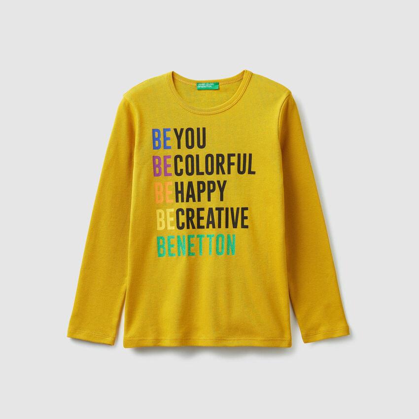 T-shirt à côtes avec logo imprimé