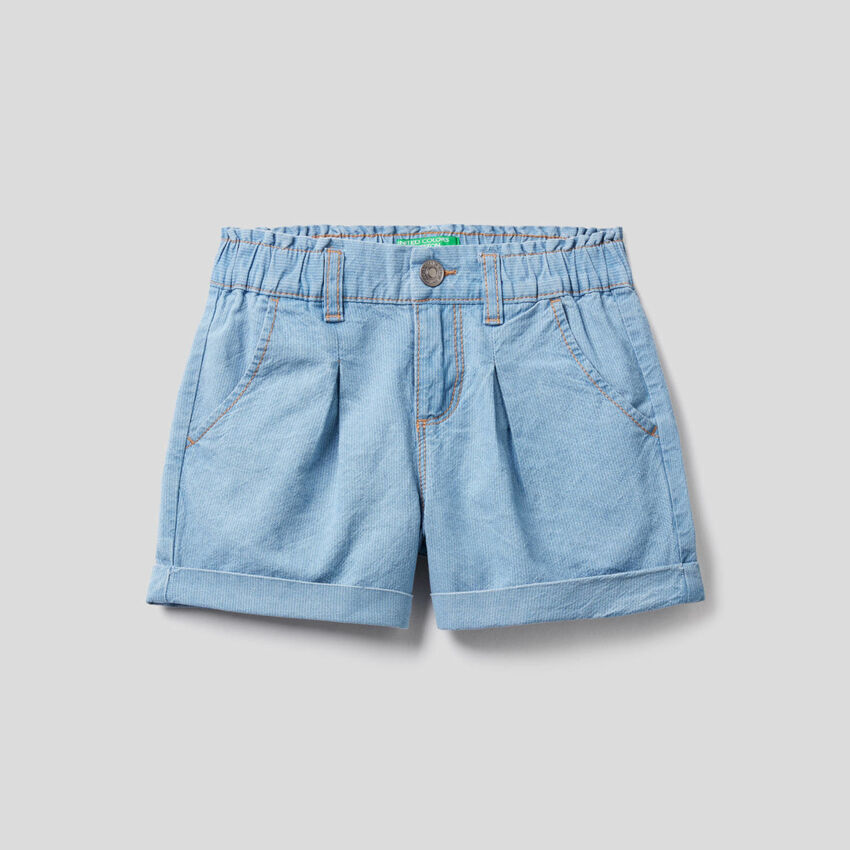 Short effet jeans avec revers