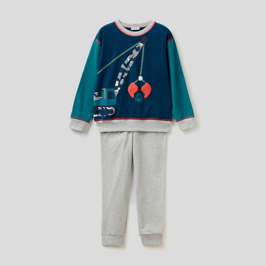 Pyjama en coton stretch avec imprimé