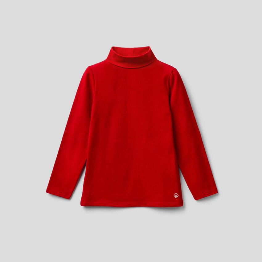 T-shirt en coton stretch avec col montant