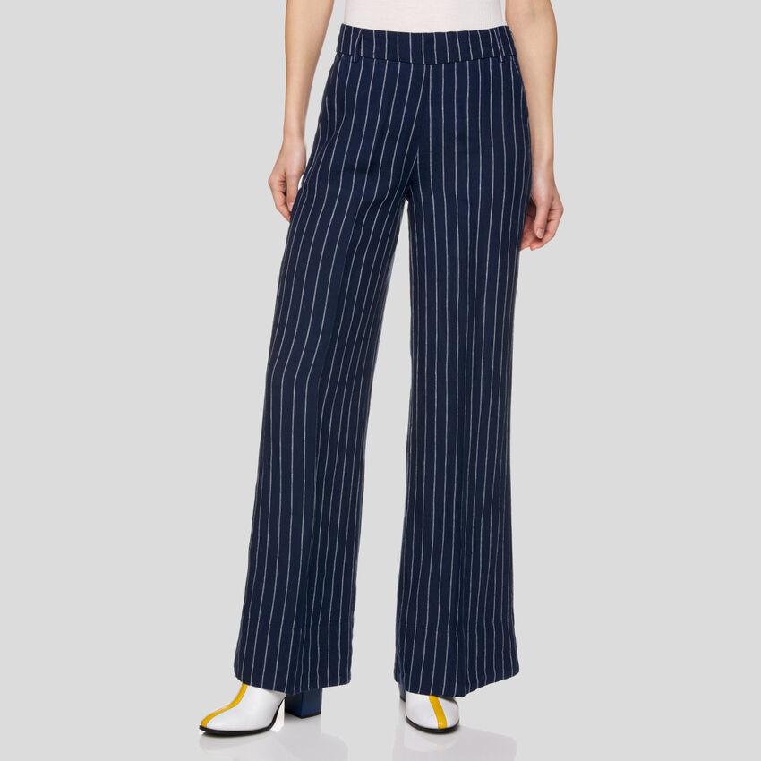 Pantalon à rayures en pur lin