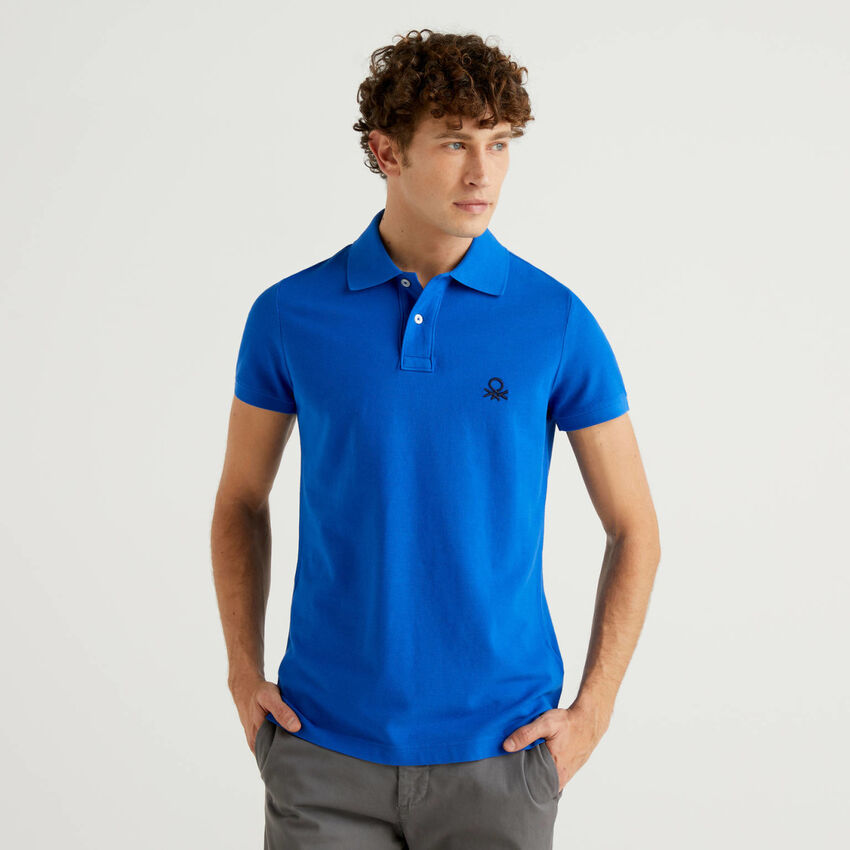 Polo bleu coupe slim