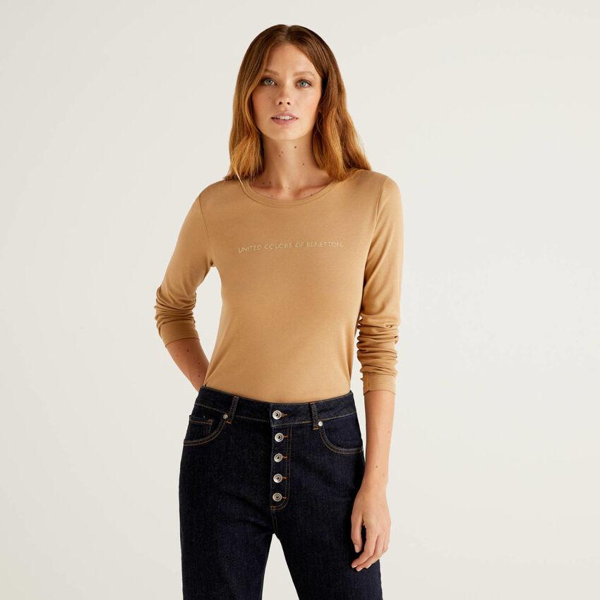 T-shirt beige à manches longues 100% coton