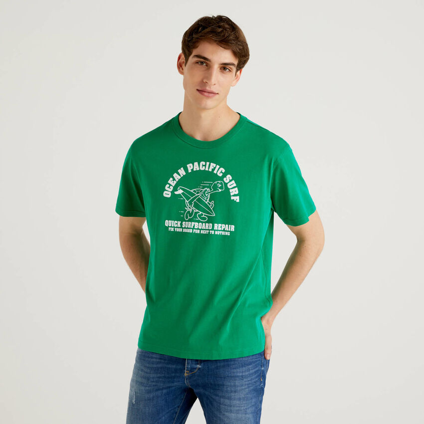 T-shirt vert 100% coton avec imprimé
