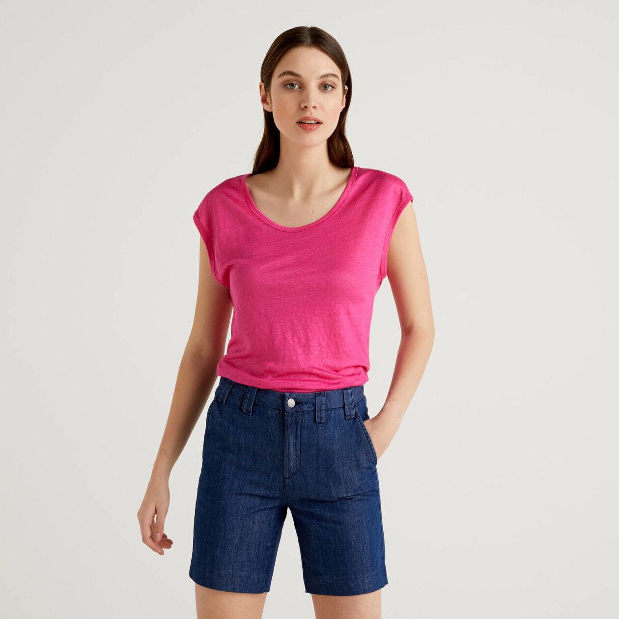 T-shirt en 100% lin à manches courtes