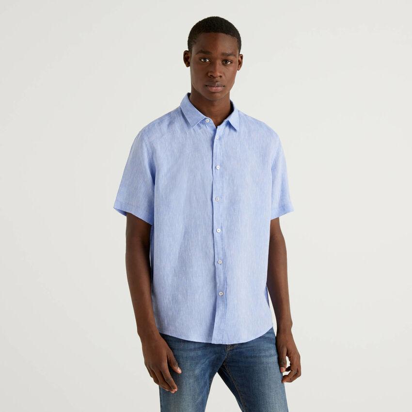 Chemise à manches courtes 100% lin