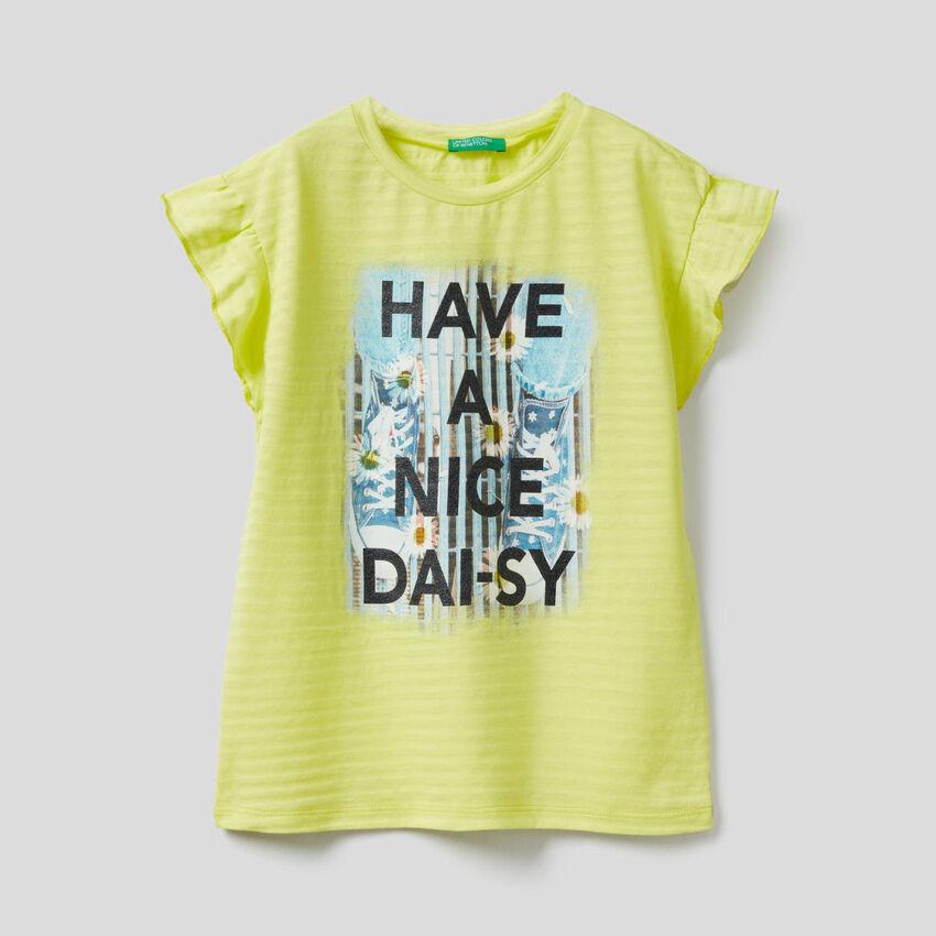 T-shirt imprimé avec mancherons