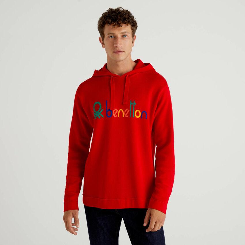 Pull rouge 100% coton à capuche