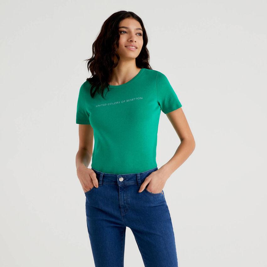T-shirt 100% coton avec logo imprimé pailleté