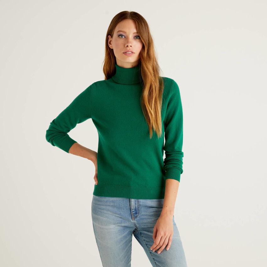 Pull col montant vert foncé en pure laine vierge