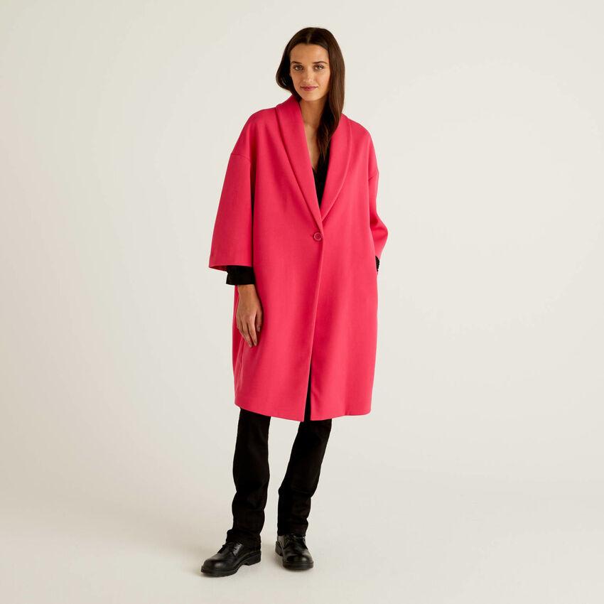 Manteau uni avec col châle