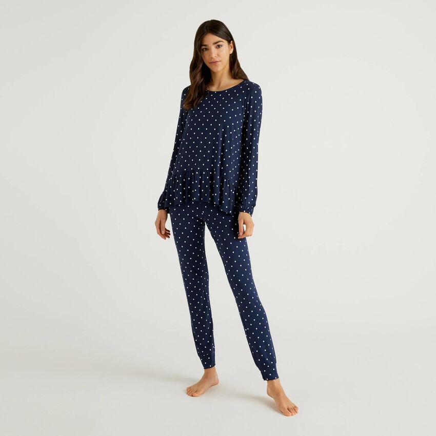 Pyjama à motifs en viscose stretch