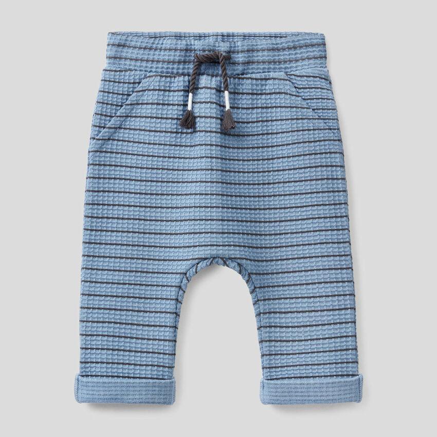 Pantalon à rayures en coton bio