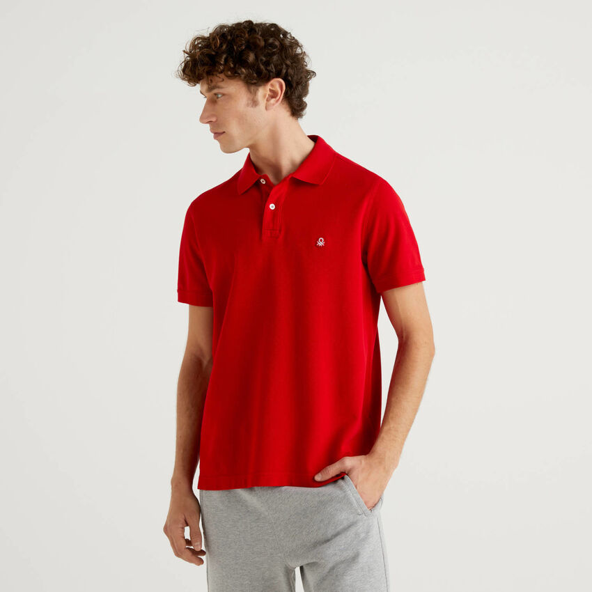 Polo rouge coupe regular personnalisable