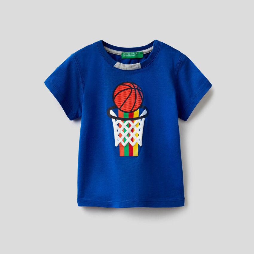 T-shirt 100% coton avec imprimé multicolore