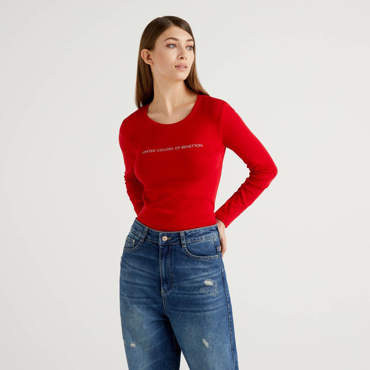 T-shirt rouge à manches longues 100% coton