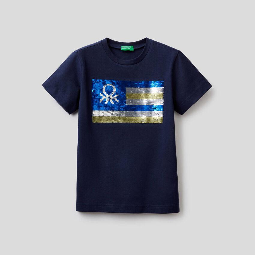 T-shirt en pur coton avec paillettes