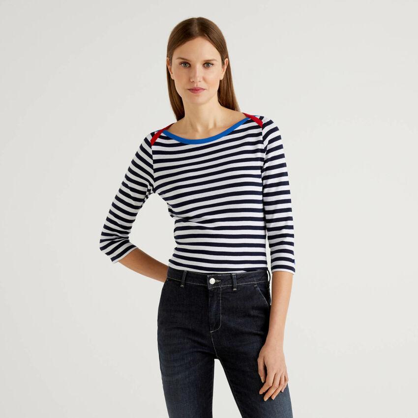 T-shirt manches 3/4 à rayures en pur coton