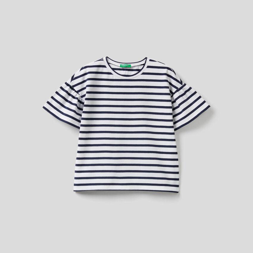 T-shirt à rayures tissées teintes