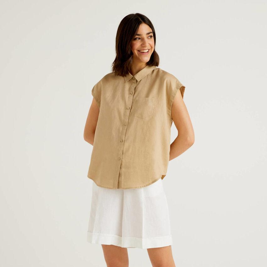 Chemise 100% lin à manches courtes