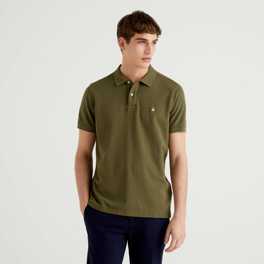 Polo vert militaire coupe regular