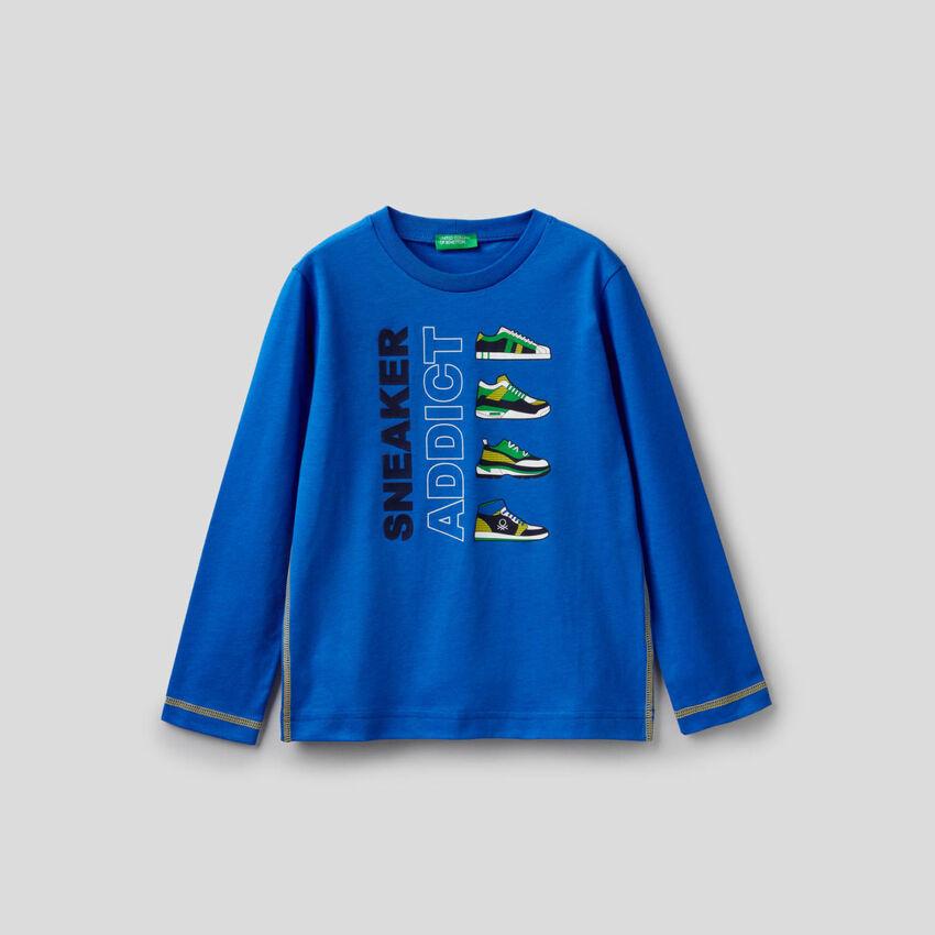 T-shirt bleu à manches longues 100% coton