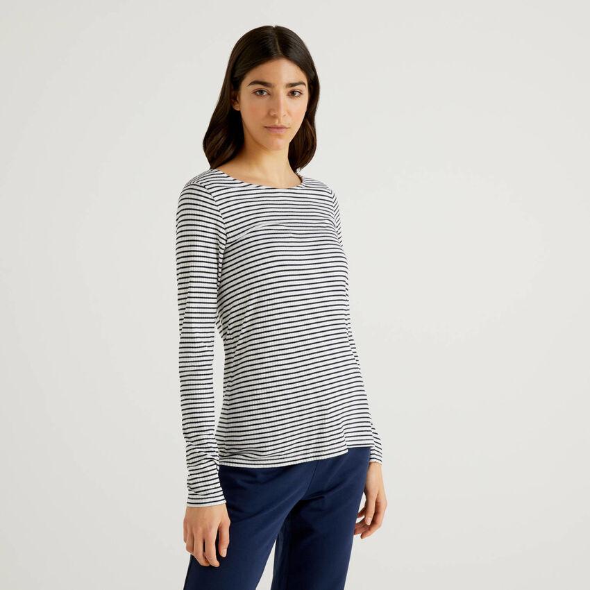 T-shirt à rayures en viscose mélangée stretch