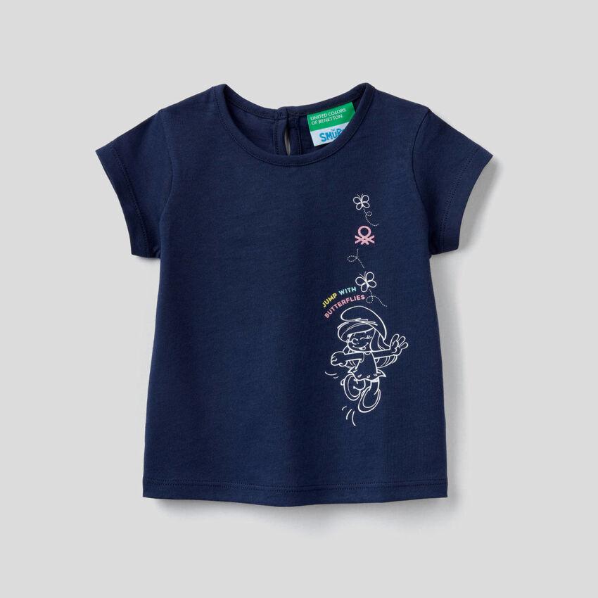 T-shirt bleu foncé avec imprimé Les Schtroumpfs