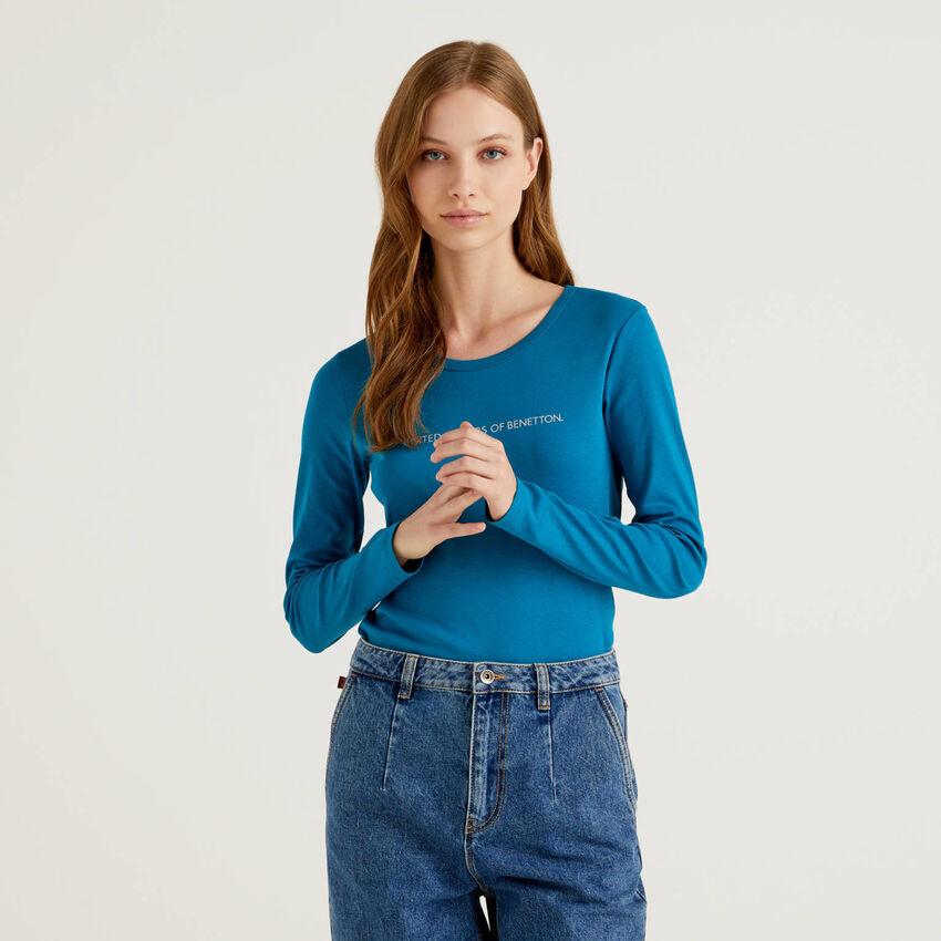 T-shirt bleu sarcelle à manches longues 100% coton