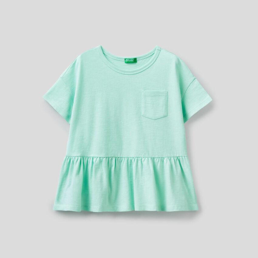 T-shirt en pur coton avec volant