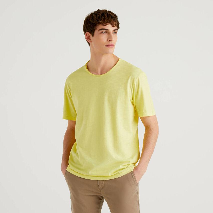 T-shirt jaune en pur coton
