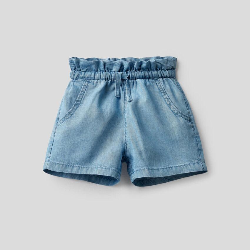 Short à taille haute en jeans léger