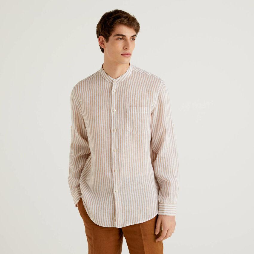 Chemise en lin avec col mao
