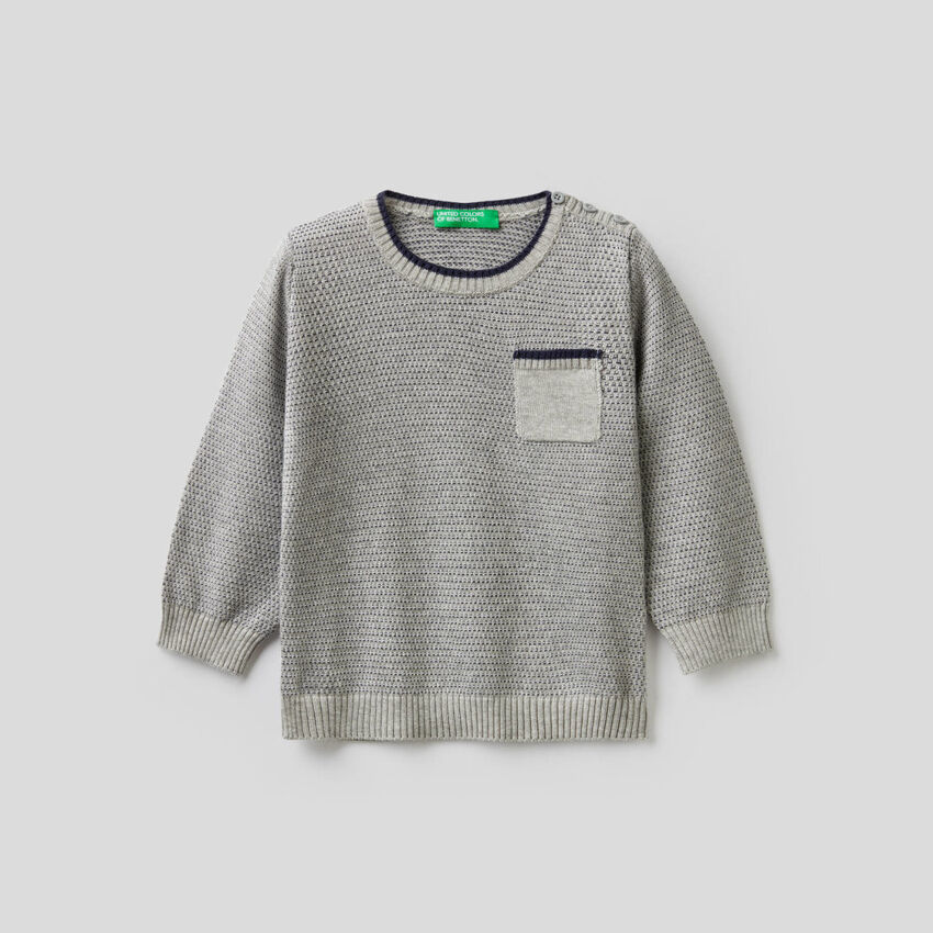 Pull texturé en laine mélangée