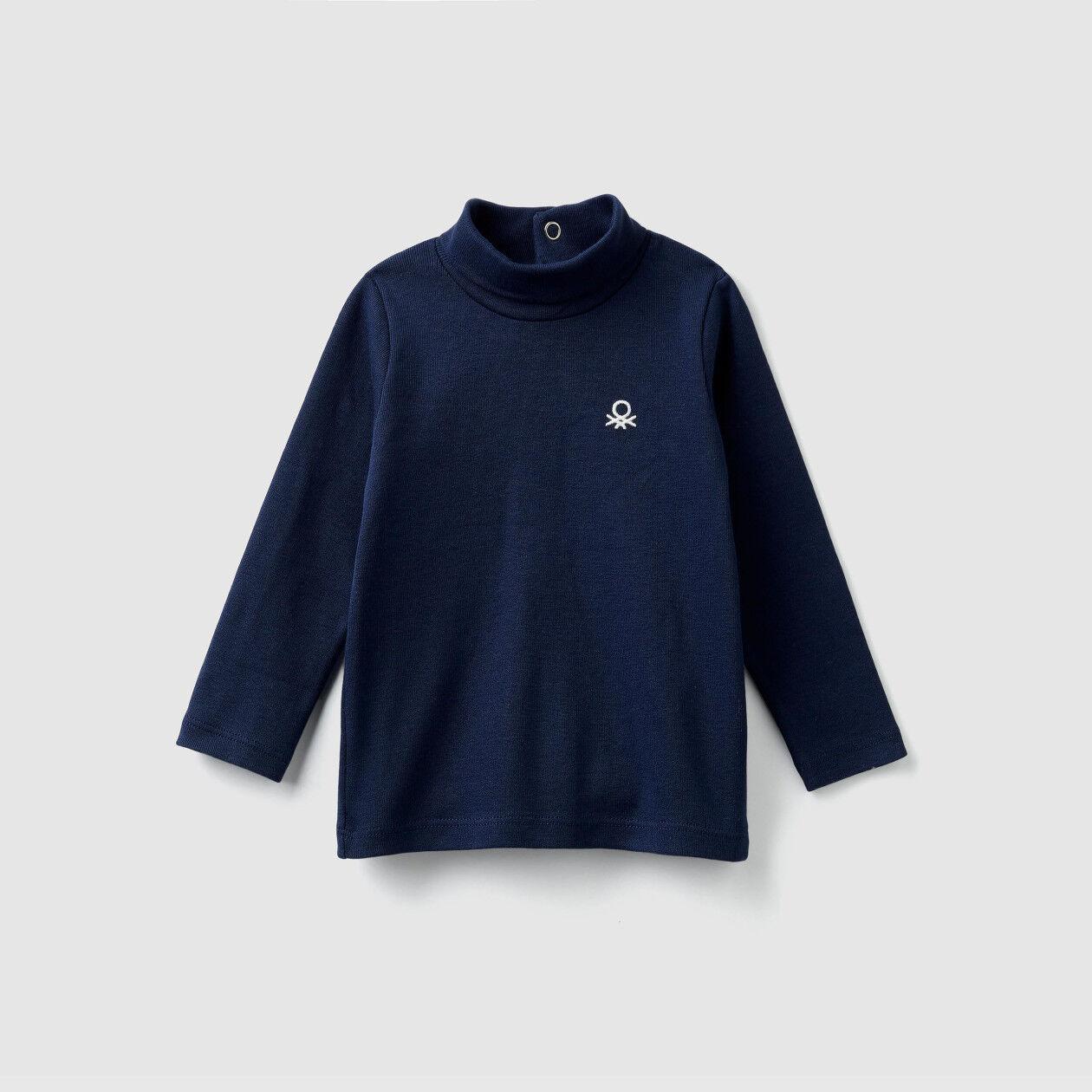 T-shirt col montant en coton bio