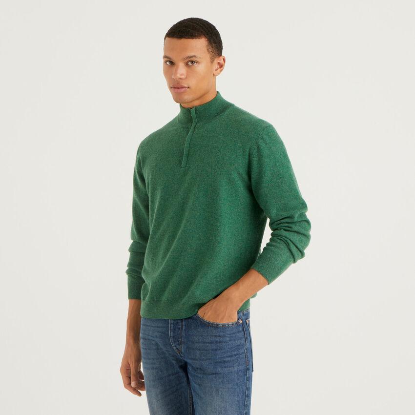 Pull zippé vert foncé en 100% laine vierge