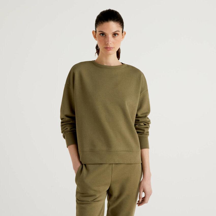 Sweat en coton mélangé vert militaire