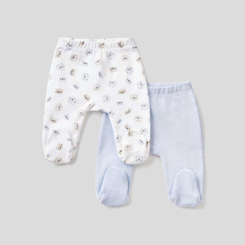 Deux pantalons à pieds en coton bio
