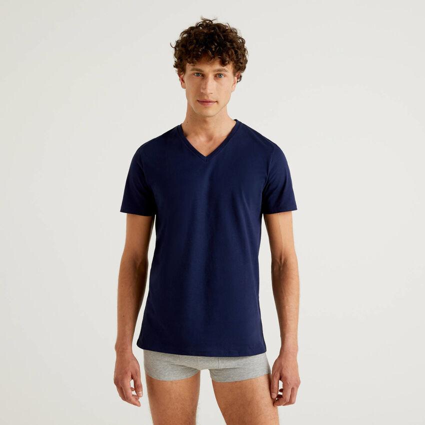 T-shirt 100% coton avec col en V